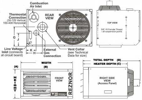 Reznor on wiring diagram for a baseboard heater thermostat